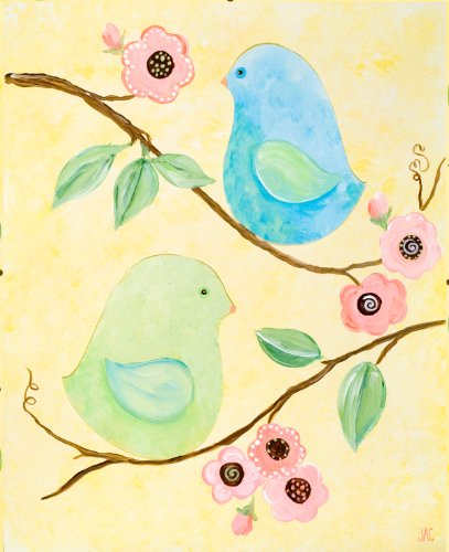 Green Frog Art Canvas Gallery Wrapped Art, Love Birds