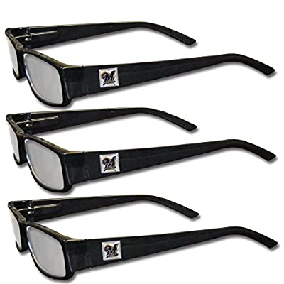 MLB Milwaukee Brewers Adult Reading Glasses (3-Pack), Black