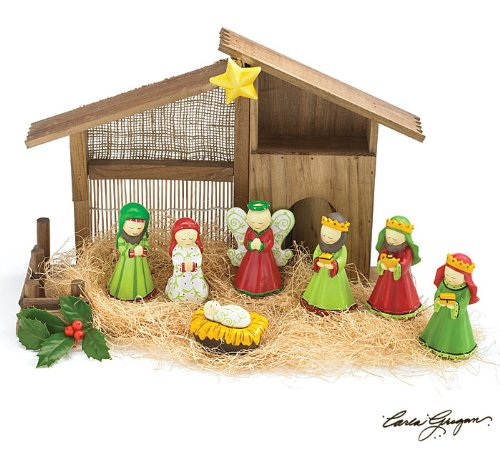 8 Piece Christmas Nativity Set With Stable Designed