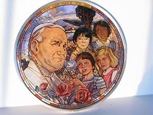 "Saint Pope John Paul II ""All God's Children"" Stained Glass & Pewter Window Hanging Suncatcher by Glassmasters USA & Jack Woodson Artist"