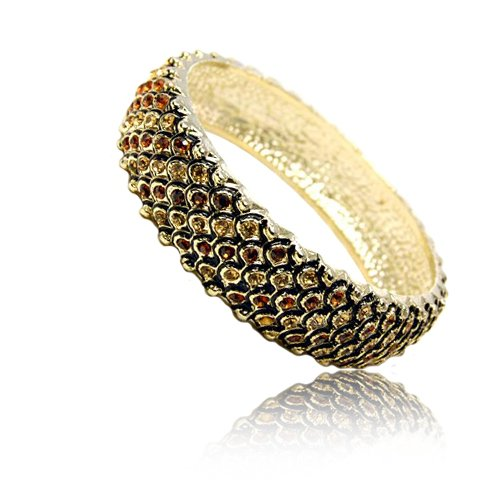 Dragon Scales Texture Topaz Colored Rhinestone Bangle Fashion Bracelet