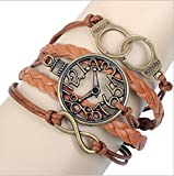 Homgaty Fashion Lady Retro Fake Watch Leather Wax Cord Braided Woven Bracelet with Retro Metal Handcuffs