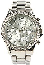shot-in Geneva luxury alloy diamond watch with calendar (Silver)