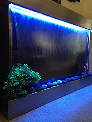"Waterfall XXL 52""x35"" Wall Fountain , Stainless Steel ,Mirror Glass , Color Lights , Remote Ctrl"