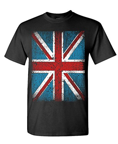 GRUNGE UNION JACK - great britain uk brit - Mens Cotton T-Shirt, L, Black (British Flag Tshirts compare prices)