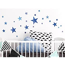 "I-love-Wandtattoo WAS-10108 Kinderzimmer Wandsticker Set ""Aquarell Sterne in Blau"" zum Kleben Wandtattoo Wandaufkleber Sticker Wanddeko"