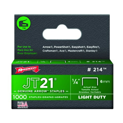 Arrow 214 Genuine JT21/T27 1/4-Inch Staples, 1,000-Staples