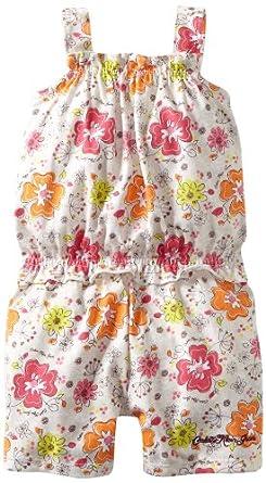 Calvin Klein Baby-girls Infant Flower Print Romper, Orange/Pink, 18 Months
