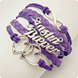 Justin Bieber belieber Multi Strap charm bracelet with JB Special Gift Box (Heart-Purple-FastShip)