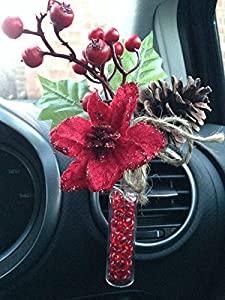 CHRISTMAS Yankee Candle Scented Car Vase and Spray with Vase Stones -Pine Cone and Poinsettia Spray