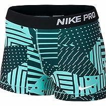 Nike Womens 3 Compression Short (Light Blue/Black, X-Small)