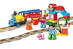 Motorized Train Set and Tracks Building Blocks 53pcs - Battery Operated - Compatible with Lego Duplo Train Set Parts