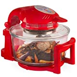 Andrew James 12 LTR Premium Red Digital Halogen Oven Cooker With Hinged Lid + Easily Replaceable Spare Bulb + 2 YEAR WARRANTY + 128 page Recipe Book - Complete with Extender Ring (Up to 17 Litres), Cake/Rice Dish, Toast Rack, Baking Tray, Steamer Tray, S