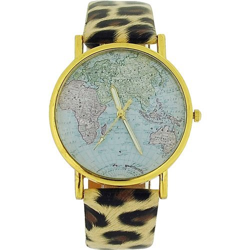 The Olivia Collection Ladies World Map Dial Leopard Print Pu Strap Watch Toc113