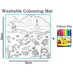 Smart Picks 50 x 50cm Marine Organisms Set Washable Colouring Mat With Colour Pens. ( Kids educational drawing and colouring toys)