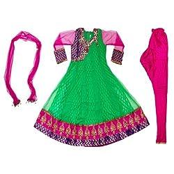 Pintoo Apparels Girls Green Traditional Salwar Set for 15-16 Years