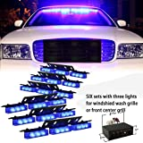 New High quality 54 x Ultra Bright Blue LED Emergency Warning Use Flashing Strobe Lights Bar For Windshield Dash Grille