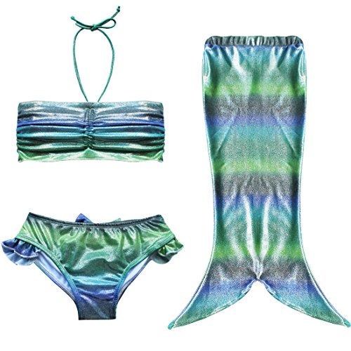 Tiaobug Badeanzug Mädchen Bademode Meerjungfrau-Schwanz Kostüm Kleinkinder / Baby / Mädchen Bikini Set (92-98 (Herstellergröße 90), Grün)