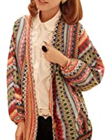 Vobaga Women's Boho Ethnic Colorful Wave Stripe Knit Top Blouses Sweater Cardigan Coat 6-10