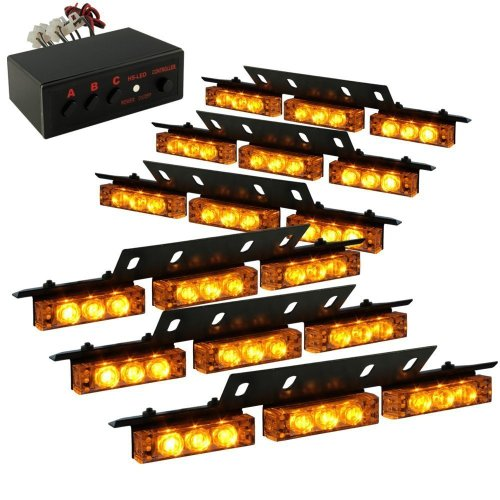 Aurnoc Car Truck Boat Van 54 Led Emergency Strobe Light Lamp Car Warning Light 3 Flashing Modes In White / Blue / Red / Amber / Red& White / Red& Blue / White& Amber (White)