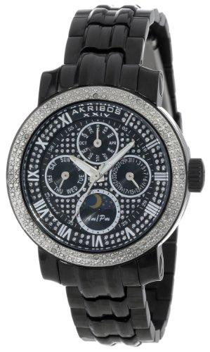 Akribos XXIV Women's AK614BK Grandiose Diamond Multi-Function Stainless Steel Black Bracelet Watch