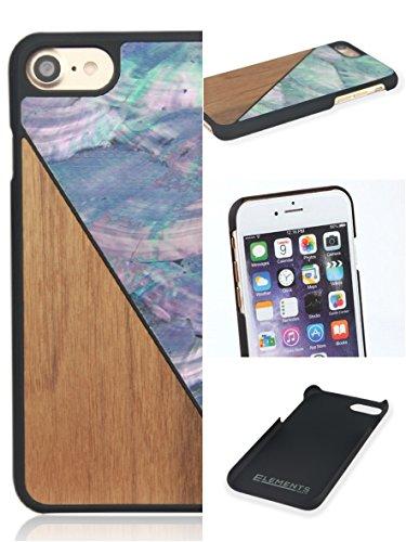 """WOLA custodia """"AQUA"""" per iPhone 7 in vero legno di noce naturale e madreperla azzuro. Elegante cover di protezione per Apple i-Phone 7 in legno e madreperla."""