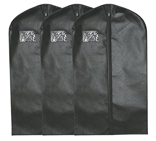 Garment Bags (Black) - Set of 3 Breathable Suit Covers 42 x 24 inch, Perfect for Storage or Travel (Garment Bag For Closet compare prices)