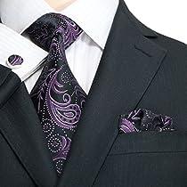 """Landisun 309 Paisleys Mens Silk Tie Set: Tie+Hanky+Cufflinks Dark Purple Black, 3.75""""Wx59""""L"""