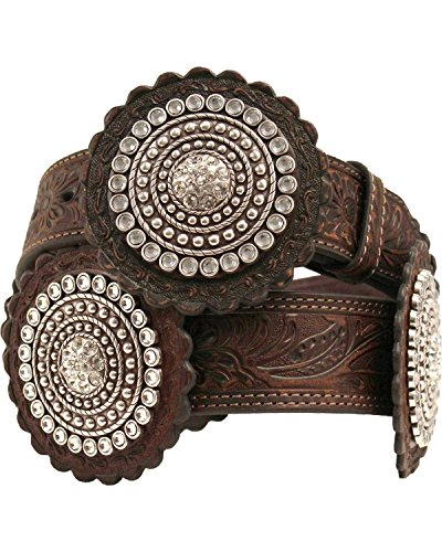 Nocona Women's Embossed Rosette Concho Belt Brown Medium (Concho Belts For Women compare prices)