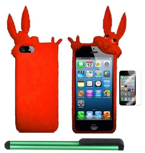 #!  Orange Rabbit Silicone Skin Premium Design Protector Soft Cover Case Compatible for Apple Iphone 5 (AT&T, VERIZON, SPRINT) + Screen Protector Film + Combination 1 of New Metal Stylus Touch Screen Pen (4