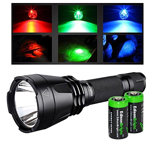 Fenix Tk32 Cree Xm-L2(U2) Led 900 Lumen Built In Red, Green, Blue Lights And Dual Tail Switch Tactical Flashlight With 2X Edisonbright Cr123A Batteries