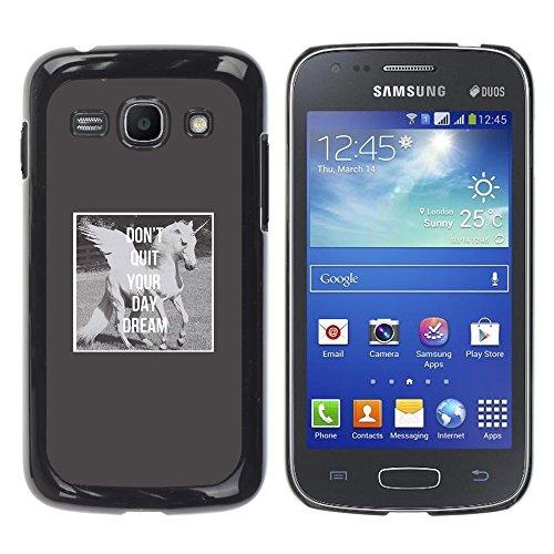 WonderWall Tapete Bunt Bild Handy Hart Schutz hülle Case Cover Schale Etui für Samsung Galaxy Ace 3 GT-S7270 GT-S7275 GT-S7272 - unicorn daydream graue Flügel Pferd