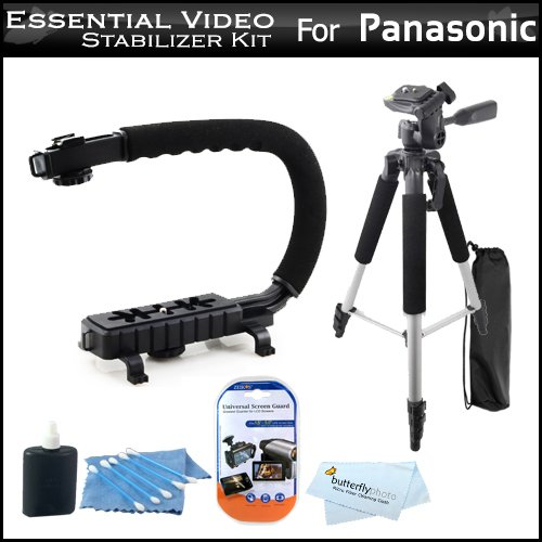 Buy  Essential Video Stabilizer Kit For Panasonic HDC-TM900K HD Camcorder Includes AXIS-G Camcorder Action Stabilizing Handle + 57 Full Tripod w/Case + LCD Screen Protectors + 3pc Cleaning KIt + MicroFiber Cloth