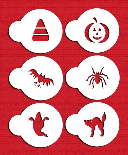 Designer Stencils C065 Halloween Cupcake and Cookie Stencil Set with Cat, Candy Corn, Spider, Ghost, Bat and Pumpkin, Beige/semi-transparent