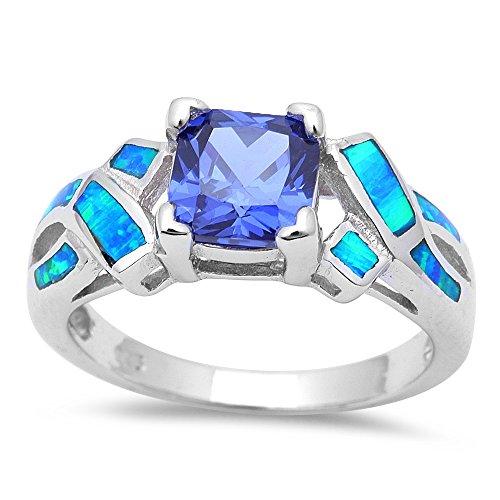 Princess Cut Simulated Tanzanite & Blue Opal Fashion .925 Sterling Silver Ring Size 6 (Tanzanite Ring Size 6 compare prices)