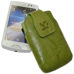 Original Suncase Echt Ledertasche (Magnetverschluss) für Sony Ericsson Xperia mini pro wash-grün