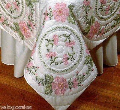 Tobin Stamped Cross Stitch Kit 6 Quilt Blocks - Floral Wreath