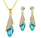 Eterno Crystal Pendant For Women -Gold & Blue