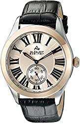 August Steiner Men's AS8203 Round Silver Dial Two Hand Quartz Two Tone Strap Watch