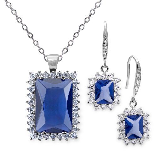 18 Carat Simulated Tanzanite Emerald Cut Earring and Pendant Set