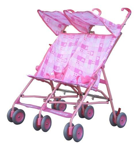 BeBeLove Double Umbrella Stroller (pink)