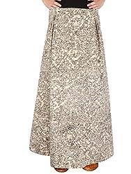 Beige Denim Skirt With Hand Painted Kalamkari