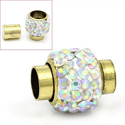 2 Antik Gold AB Farbe Glasperen Zylinder Magnetverschluss 15mm x 12mm