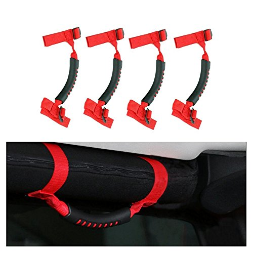 4 x Grab Handles Grip Handle Red Holder Roll Bar Grab Handles For Jeep Wrangler JK Unlimited Rubicon 1987-2016 (Roll Bar Grab Handle compare prices)
