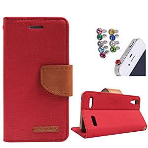 DMG Premium Canvas Diary Wallet Folio Book Cover for Lenovo A6000 (Red) + 3.5mm Jewel Dust Jack