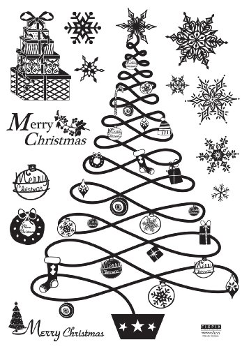 Instant Christmas Decoration Home Wall Sticker Applique - Modern Christmas Tree and Decorations