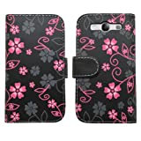 SAMRICK Executive Specially Designed Floral Flowers Soft Leather Book Wallet Case with Credit Card/Business Card Holder, Screen Protector, Microfibre Cloth and Black High Capacitive Mini Stylus Pen for Samsung i9300 Galaxy S3 SIII/Galaxy S3 SIII LTE 4G -