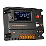 Hompie 20A LCD Solar Panel Battery Regulator Charge Controller +2 Pack MC4 Solar Connectors 12V/24V PWM Dual USB 5V DC 12V Output Auto Switch Overload Protection Temperature Compensation