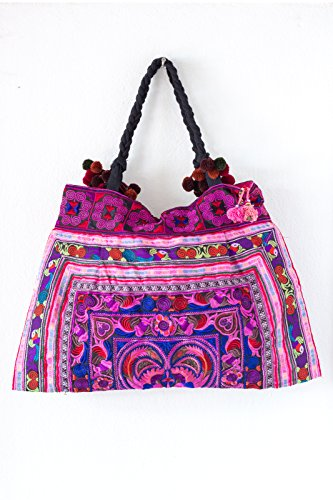 Changnoi Pink Bird Hill Tribe Tote Bag Large Size Made By Hmong Thailand Fair Trade