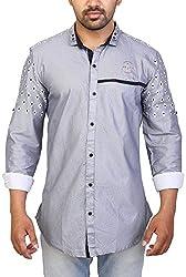 Trezer Live Men's Casual Shirt (Grey, X-Large)